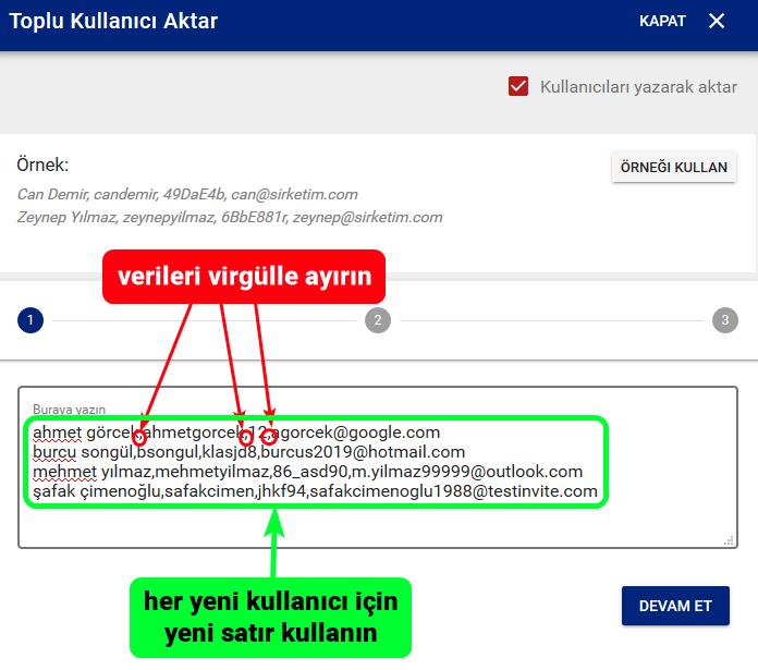 Test Invite Online Sınav Sistemine Toplu Kullanıcı Aktarma